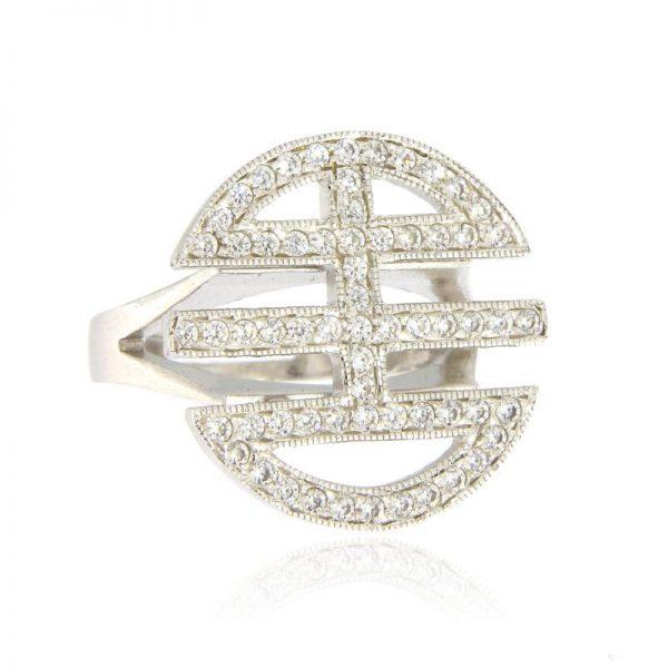 anello simbolo felicità rodio
