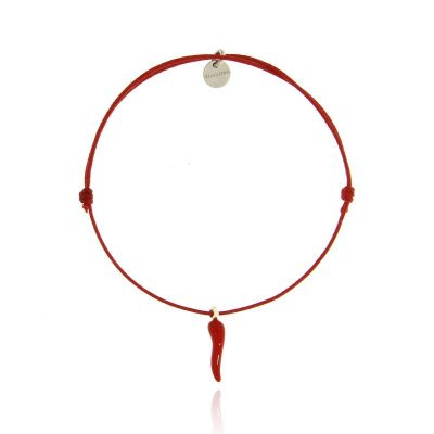 bracciale cornetto portafortuna cordino rosso