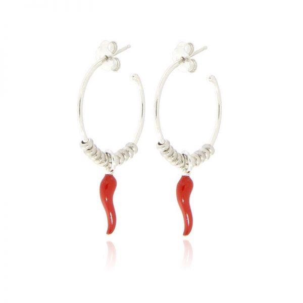 orecchini cerchio cornetto portafortuna rosso