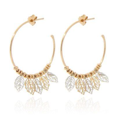 orecchini cerchio foglioline dorato rosa
