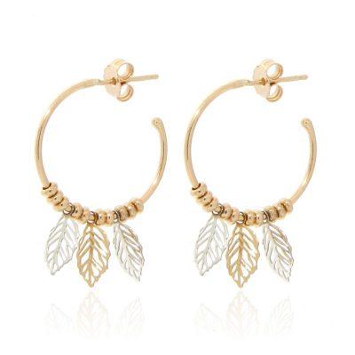 orecchini cerchio piccolo foglioline dorati
