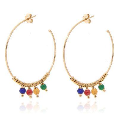 orecchini cerchio pietre naturali dorati