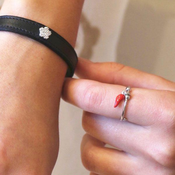 anello cornetto portafortuna argento925