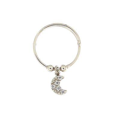 anello charm luna argento 925 rodiato