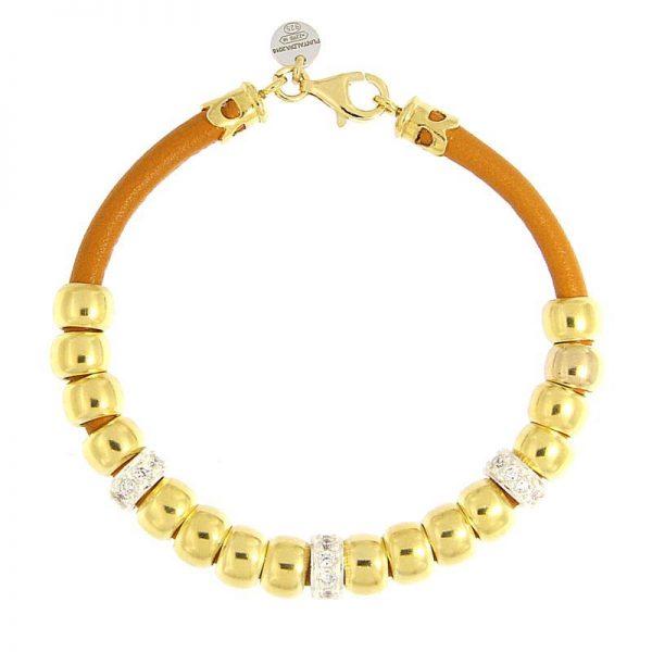 bracciale beads nappa arancio dorato