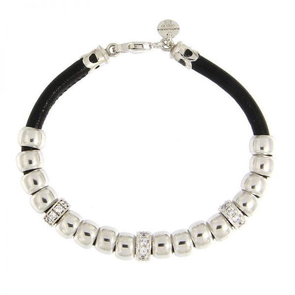 bracciale beads nappa nera rodio