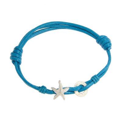 bracciale cordino stella marina turchese gialloro
