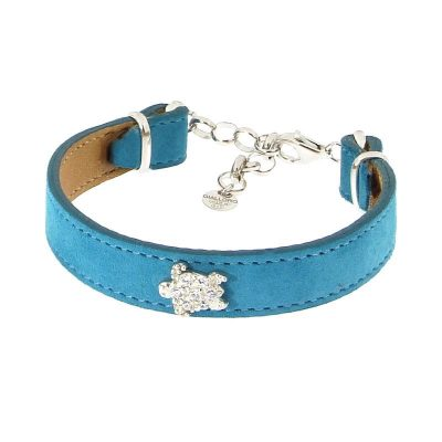 bracciale pelle borchie tartaruga azzurro