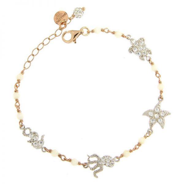 bracciale rosario summer love agata dorato rosa