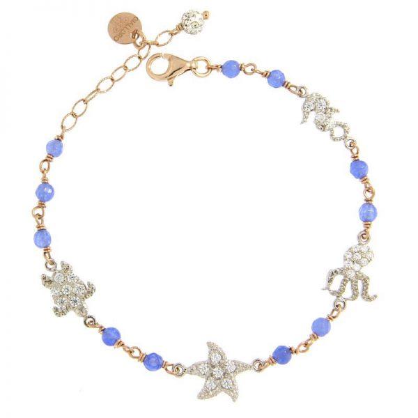 bracciale rosario summer love blu dorato agata