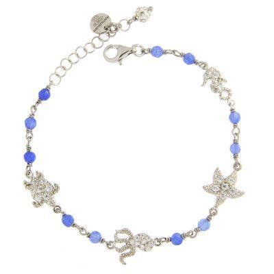 bracciale rosario summer love blu rodio agata