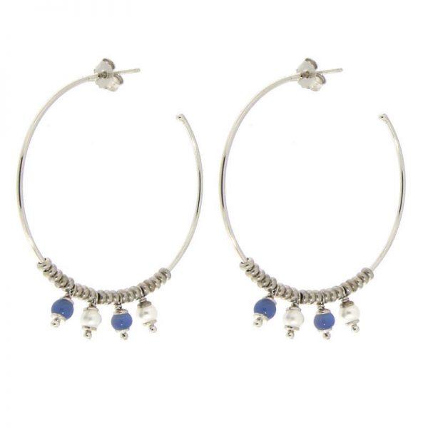 orecchini cerchio pietre blu