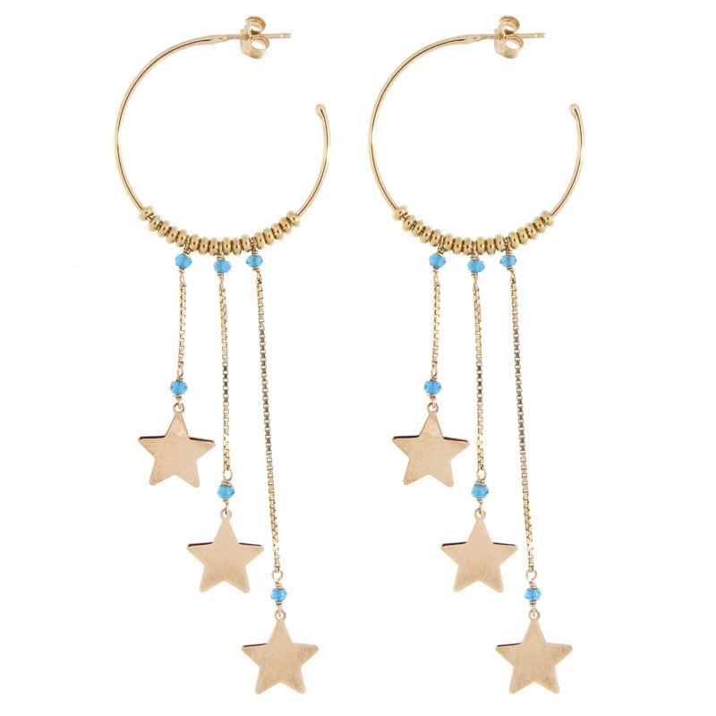 orecchini cerchio stelle argento 925