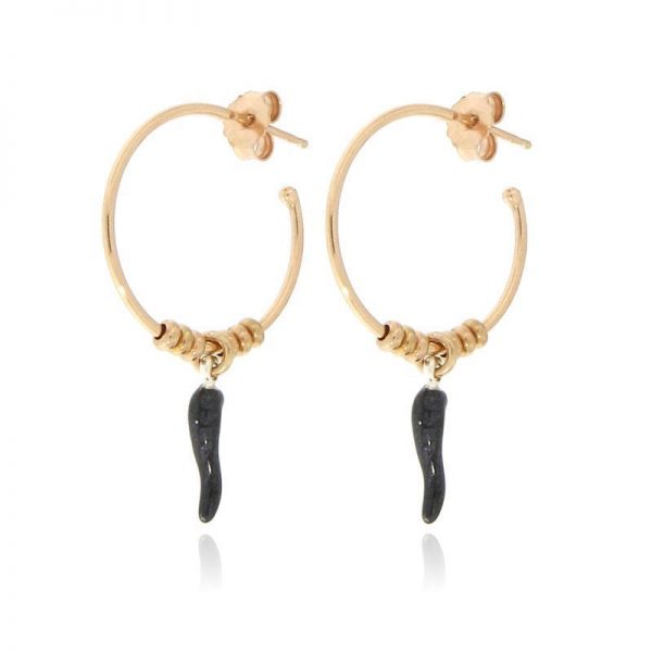 orecchini cerchio cornetto portafortuna nero dorati rosa
