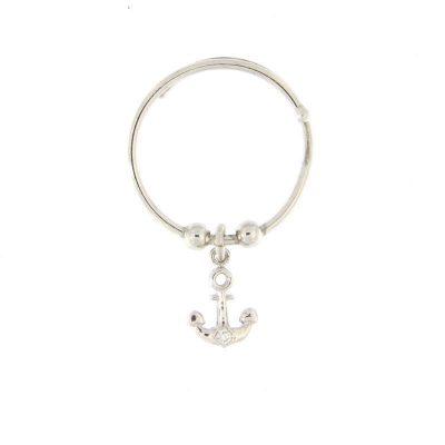 anello charm ancora argento 925