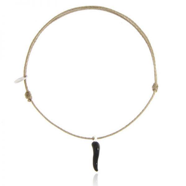 bracciale cornetto portafortuna nero cordino beige