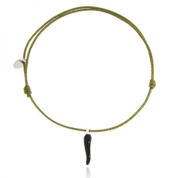 bracciale cornetto portafortuna nero cordino verde