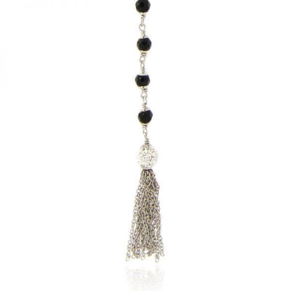 collana pendente onice e nappa argento925 rodio