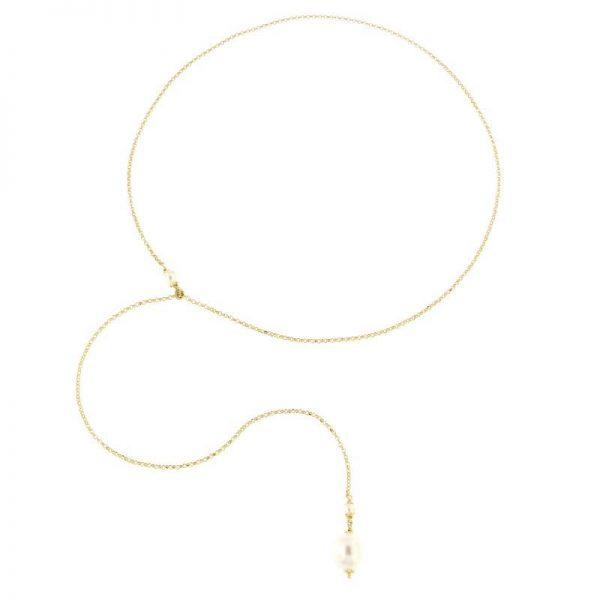 collana perla saliscendi gialla argento 925