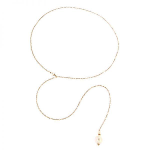 collana perla saliscendi rosa argento 925