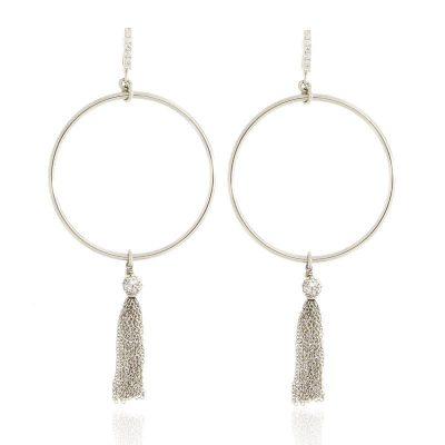 orecchini cerchio e nappa in argento 925