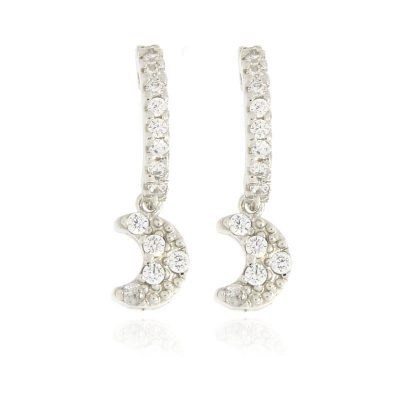 orecchini charm luna argento 925 e zirconi