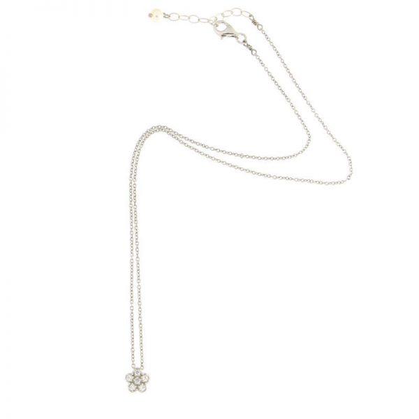collana charm fiore argento 925 e zirconi