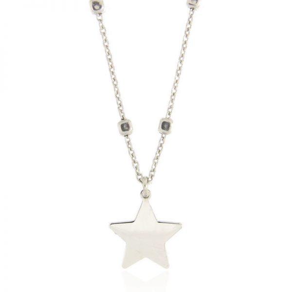 girocollo stella rodio argento 925