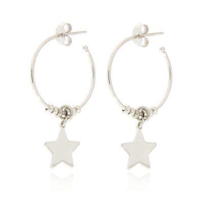 orecchini cerchio stella argento 925