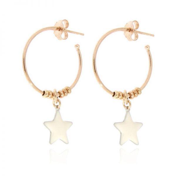 orecchini cerchio stella bianca