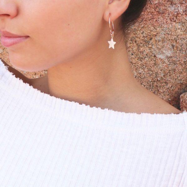 orecchini cerchio stella bianca smaltata