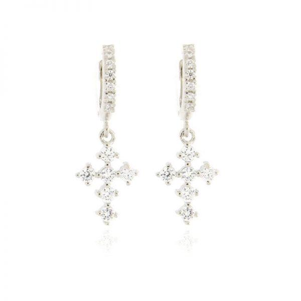 orecchini charm croce argento 925 e zirconi