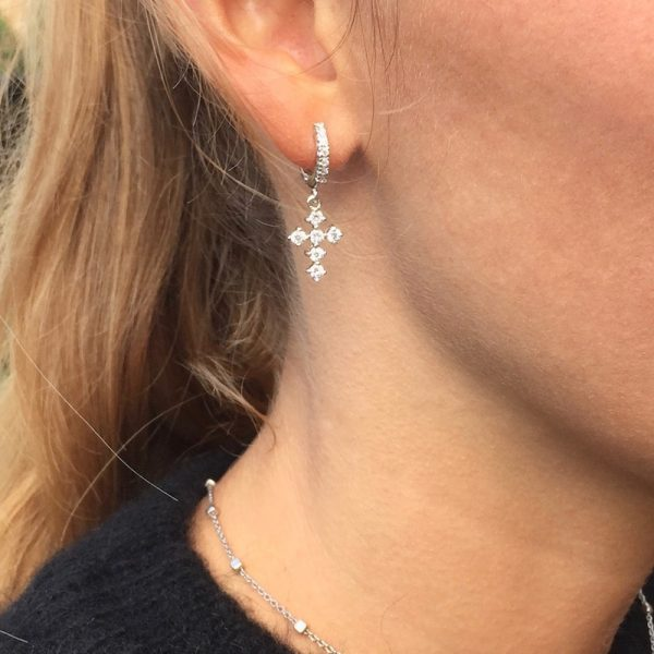 orecchini charm croce zirconi