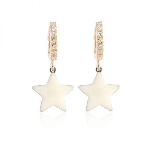 orecchini charm stella bianca dorati oro rosa