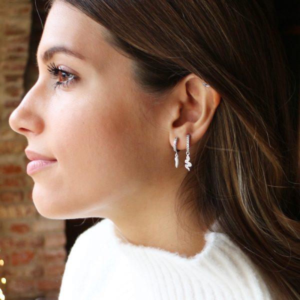 orecchino mono cornetto portafortuna argento 925