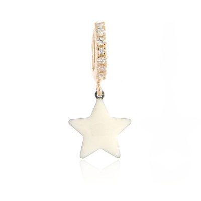 orecchino mono stella bianca rosa