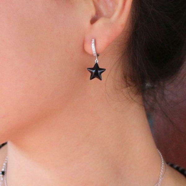 orecchino mono stella nera Gialloro