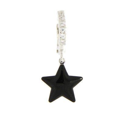 orecchino mono stella nera rodio argento 925