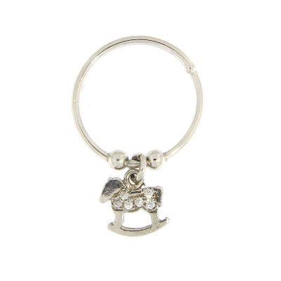 anello charm cavalluccio argento 925