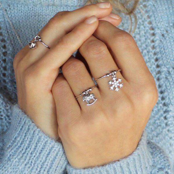 anello charm Gialloro Argento 925