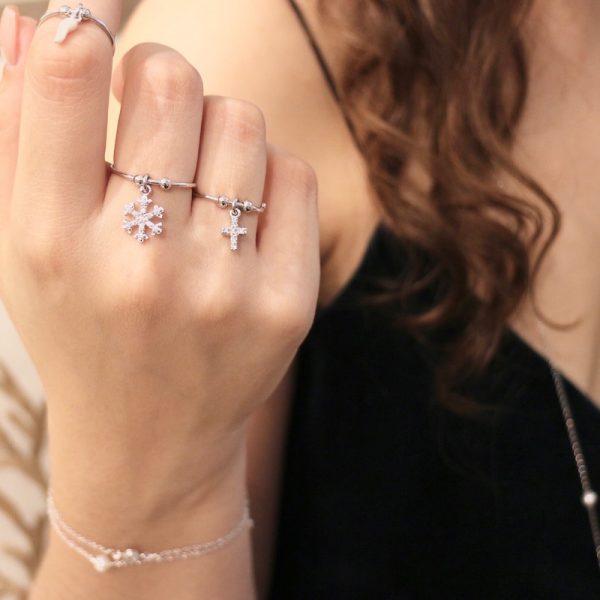 anello fiocco di neve argento 925
