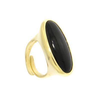 anello ovale onice nero