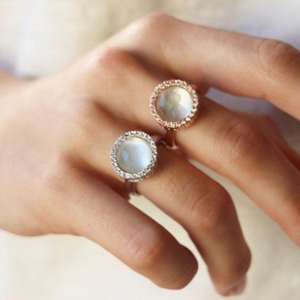 anello rotondo madreperla Gialloro gioielli