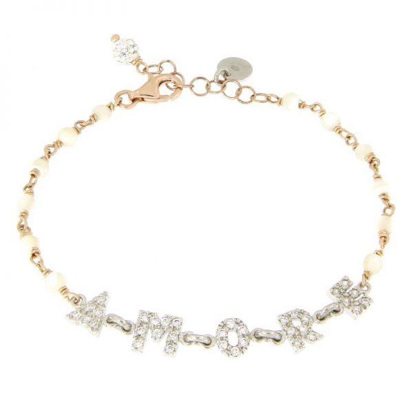 bracciale rosario Amore agata bianca
