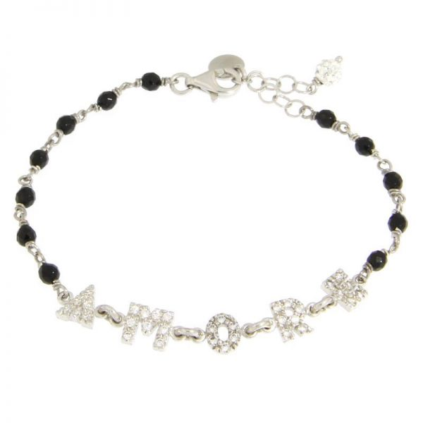 bracciale rosario Amore onice nero