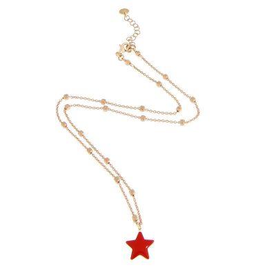 girocollo stella rossa argento 925 e smalto