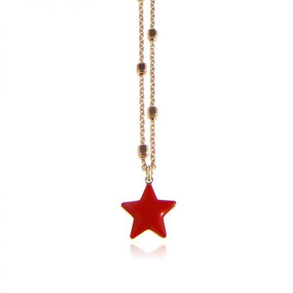 girocollo stella rossa dorato rosa
