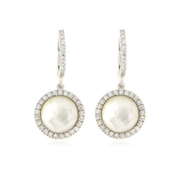 orecchini madreperla e zirconi argento 925