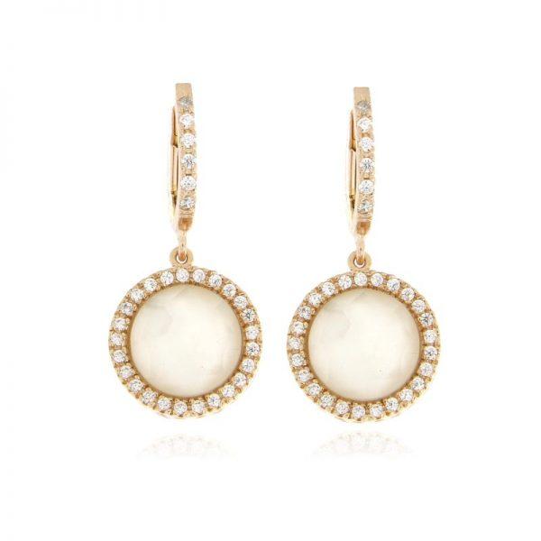 orecchini madreperla e zirconi rosa argento 925