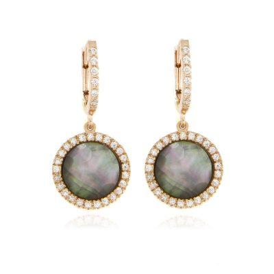 orecchini madreperla grigia e zirconi rosa argento 925